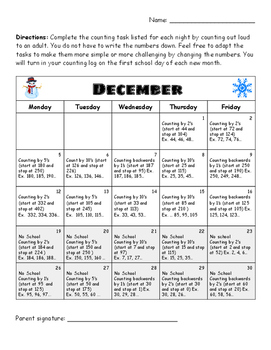December Counting Homework (1st and 2nd grade)