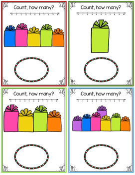 December Counting and Number Handwriting Tracing Cards
