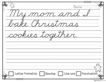 December Cursive Copywork - Cursive Handwriting Practice