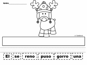 Oraciones revueltas Scrambled Sentences December in Spanish