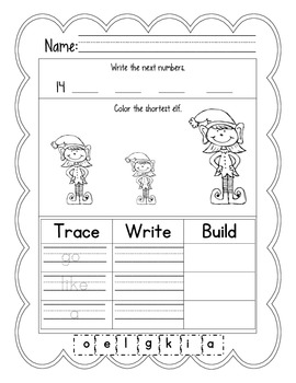 December: Daily Common Core Morning Work or Homework for Kindergarten