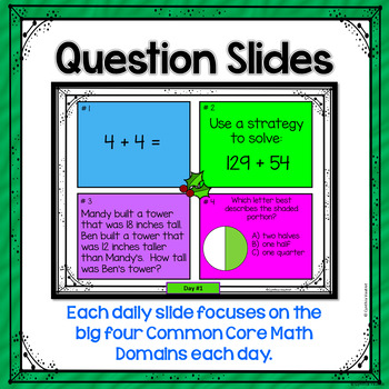 December Daily Math Spiral for 2nd grade (Common Core)