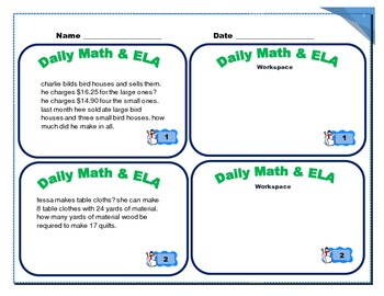 December Daily Math and ELA Common Core (edit and solve) Grade 3 & 4