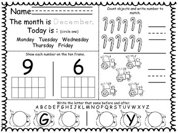 December Daily Math and Reading Morning Work/Homework - with Daily Calendar