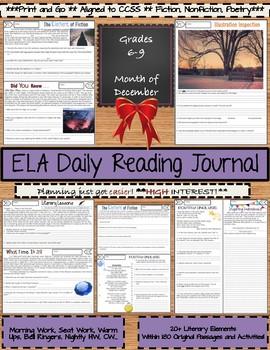ELA Daily Reading Journals - December - Morning Work, Bell Ringers
