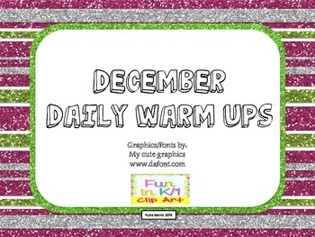 December Daily Warm Ups for Kindergarten