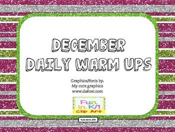 December Daily Warm Ups for Kindergarten