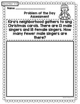 December Daily Word Problems {First Grade}