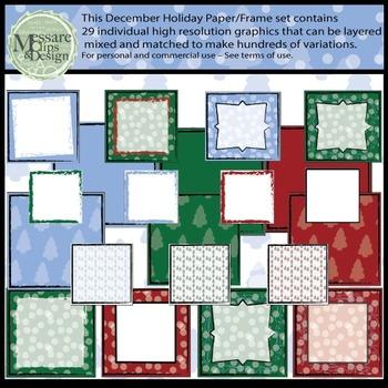 December Digital Printable Patterns and Frames Set 1 {Messare Clips and Design}