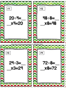 December Division Relative to Multiplication Task Cards & Game 3.OA.6