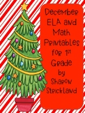 December ELA and Math Printables For First Grade