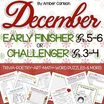 December Early Finisher/Challenger {Grades 3-6}