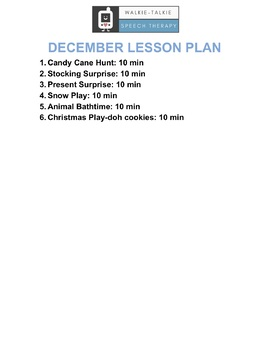 December Early Intervention Speech Therapy Lesson Plan & Video