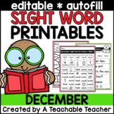 December Editable Sight Word Printables