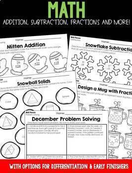 December Emergency Sub Plans for 2nd grade