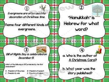 December Encyclopedia Research Task Cards with Self-Checking QR Codes