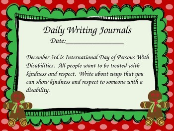 December Everyday Writing Journals Powerpoint