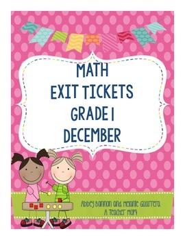 Math Exit Slips - December - Grade 1