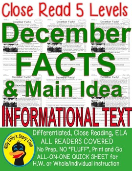 December FACTS Close Read 5 level passages ALL READERS COVERED Main Idea Fluency