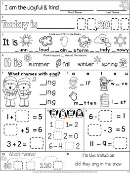 Morning Work: First Grade December Packet (Winter Differentiated Common Core)