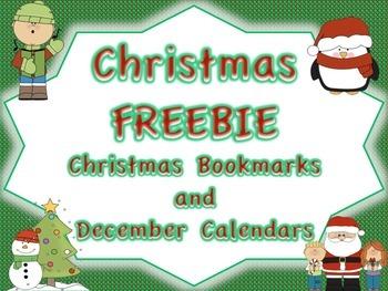 December FREEBIE: Christmas Bookmarks and December Calendar