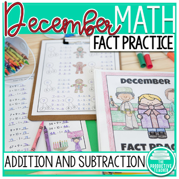 Addition and Subtraction Math Facts Worksheets: December