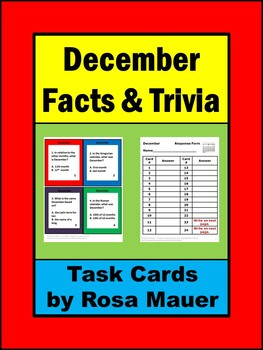 December Facts & Trivia Task Card Activity