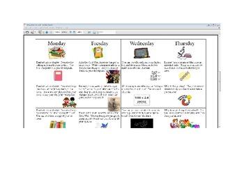 December Fifth Grade Homework Calendar Publisher Version