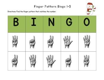 December Finger Pattern Bingo (Differentiated 1-5, 6-10, & 1-10)