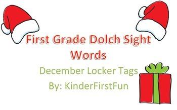 December First Grade Dolch Sight Word Locker Tags