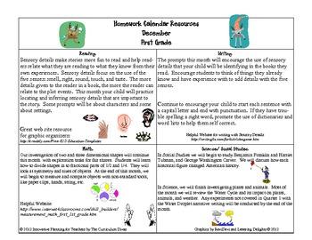 December First Grade Homework Calendar Publisher version
