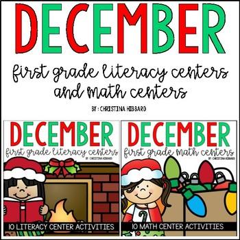 December First Grade Literacy and Math Centers