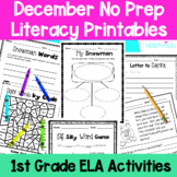 December First Grade No Prep Literacy Packet