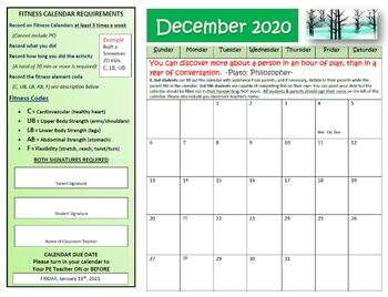 December Fitness Calendar 2018 By Physical Education Fun Tpt