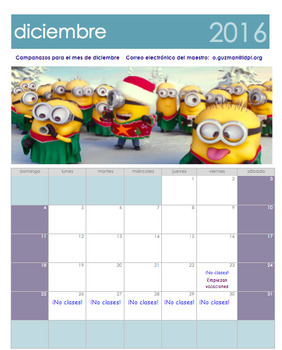 December Free Calendar. Calendario Gratis de diciembre 2016.