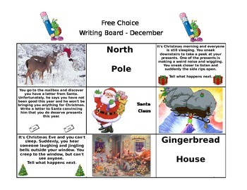 December Free Choice Writing Board