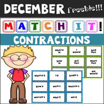 December Freebie: Match It! Contractions Matching Cards and Cut & Paste