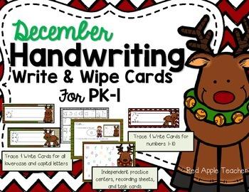 December Handwriting--Write & Wipe Center for PK-1