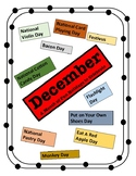 December - Holiday Calendar - Every Day should be a Fun Day of Learning!