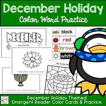 December Holiday Emergent Reader Color Word Practice