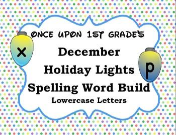 December Holiday Lights Spelling Word Build Alphabet - Low
