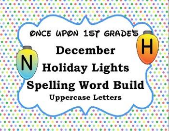 December Holiday Lights Spelling Word Build Alphabet - Uppercase Letters