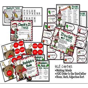 December Holiday Literacy and Math Centers Grades 3-4