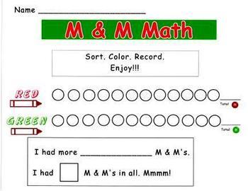 December Holiday M & M Math Sort