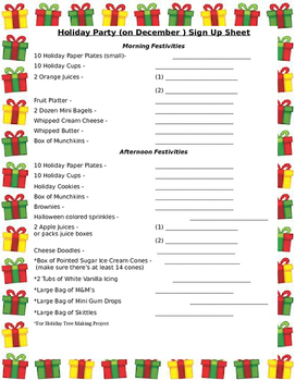 December Holiday Party Sign Up Sheet