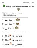December Holiday Sight Word Worksheets BUNDLE