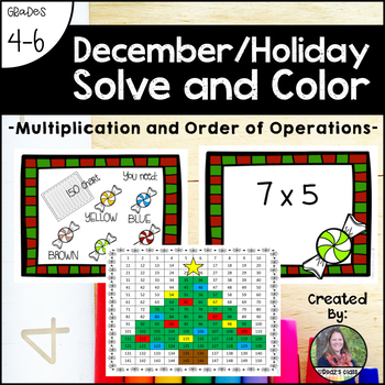 December Holiday Solve and Color (Multiplication and Order of Operations)