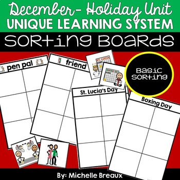 December Holiday Unit Unique Learning System Task Box- Sorting Boards