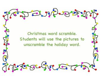 December Holiday Word Scramble