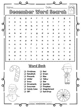 December Holiday Word Search 2 LEVELS